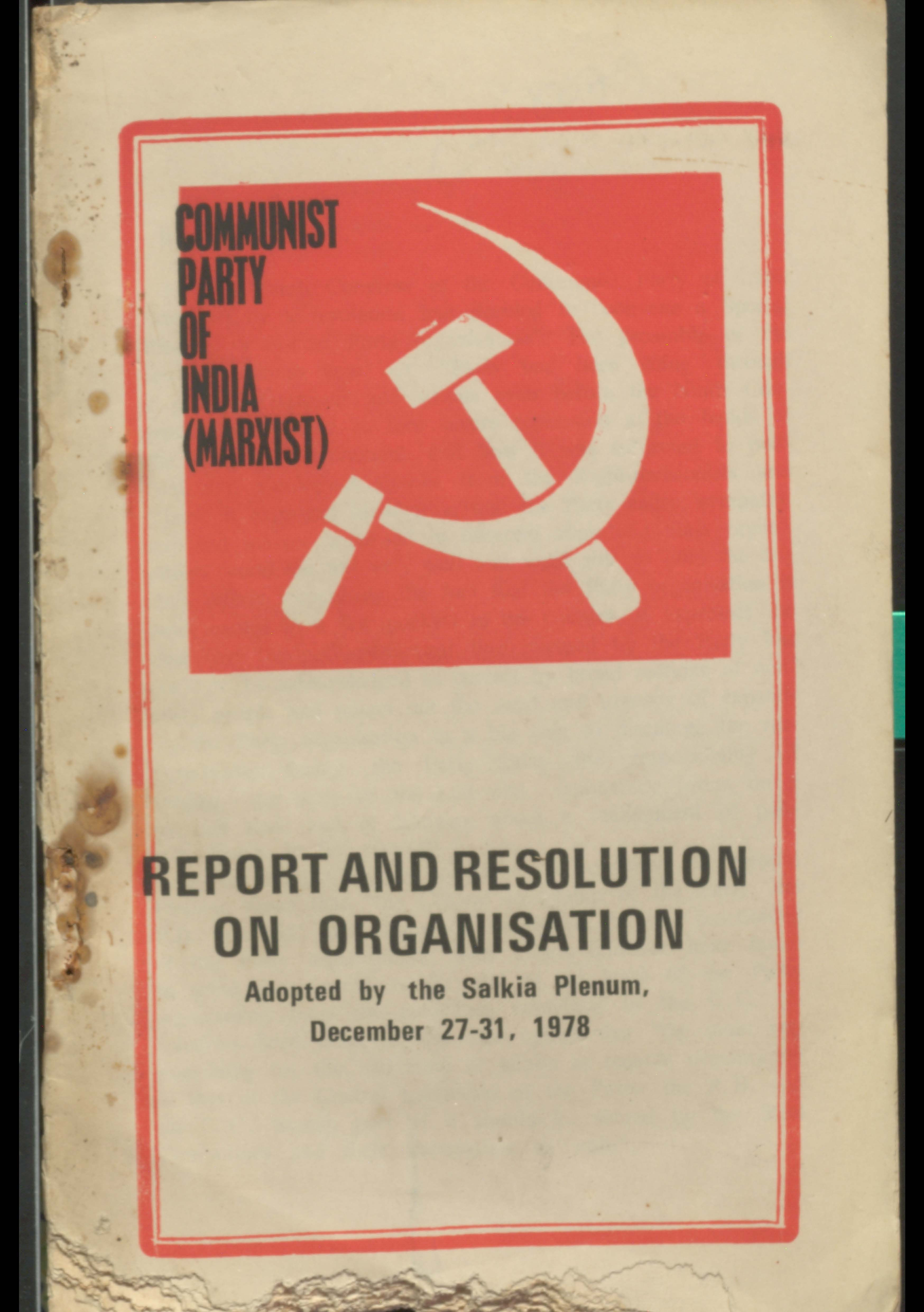 Report and resolution on Organisation