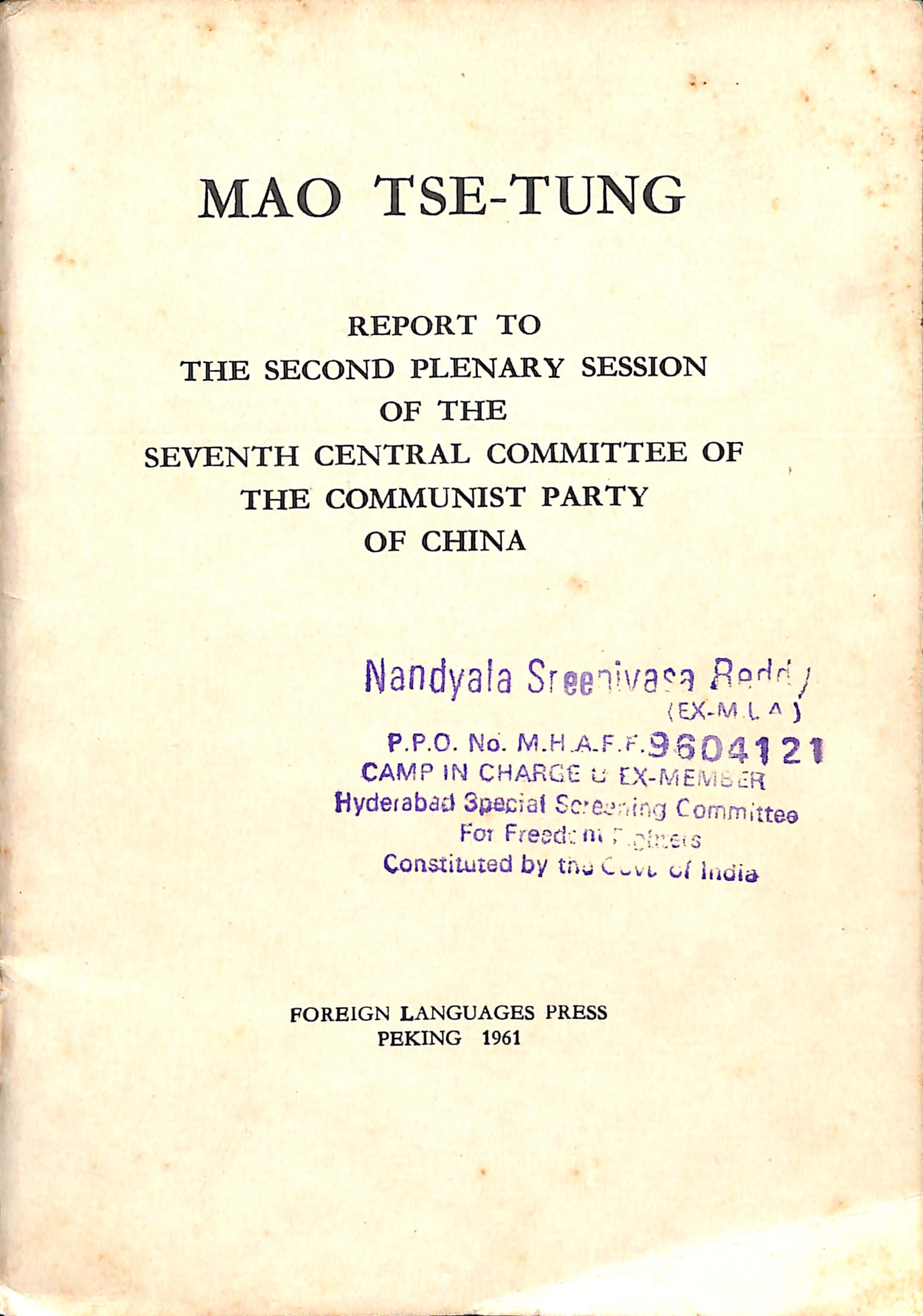 MAO TSE - TSE  report tp the second plenary session of the 7th central commitee of the communist party of china