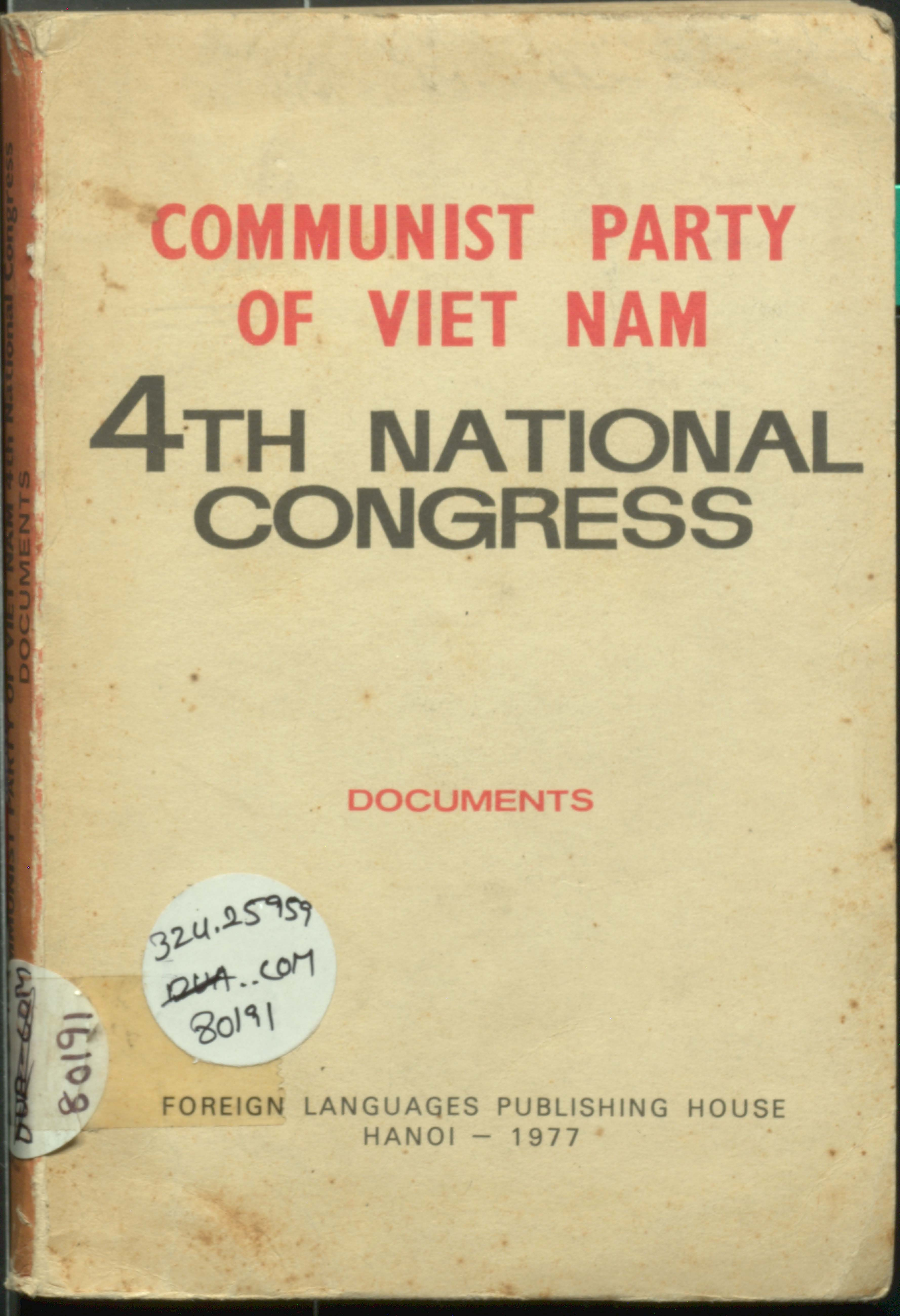 Communist party of viet nam fourth national congress documents