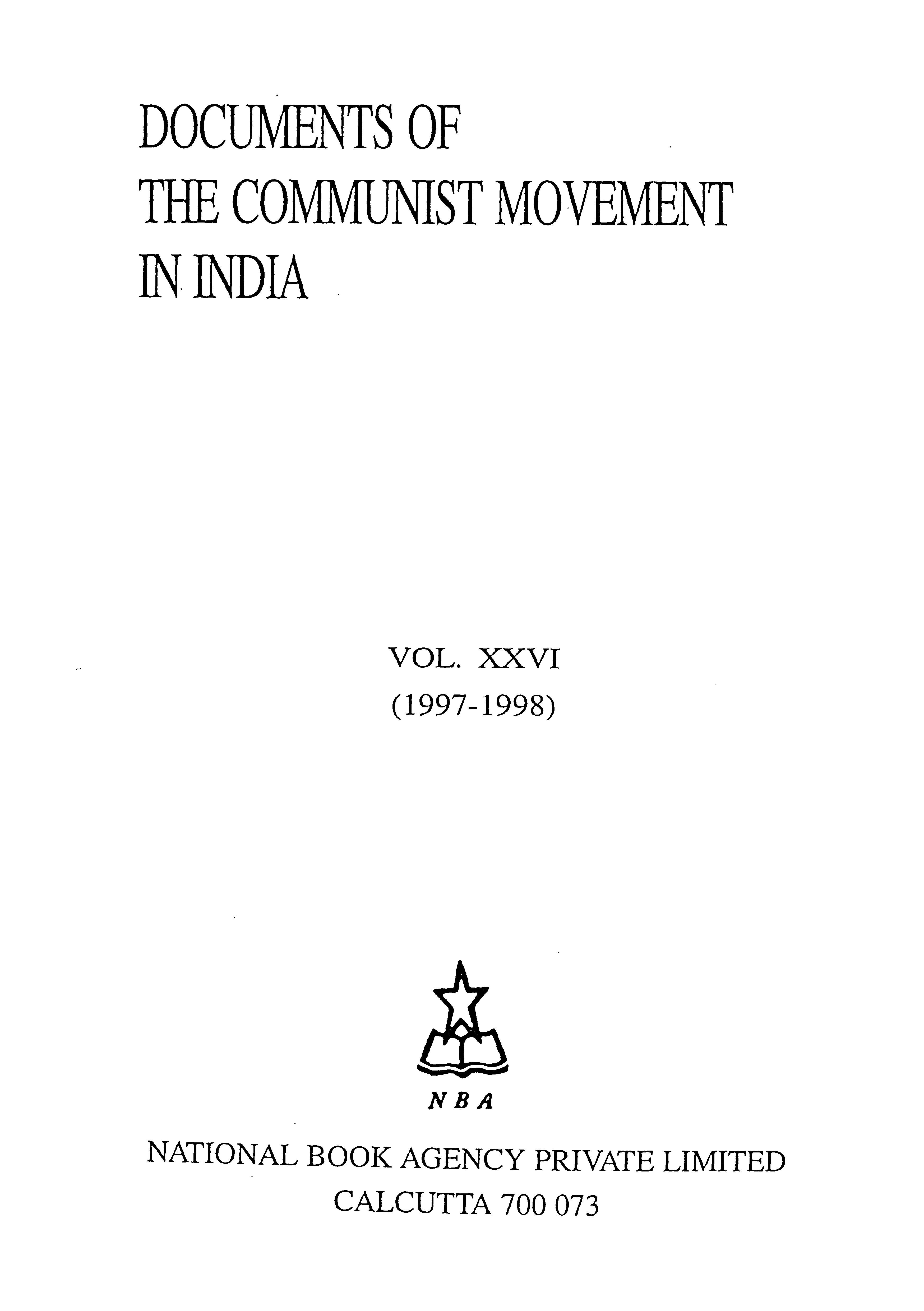 Document Of The Communist Movement In India Vol- 26  1997-1998