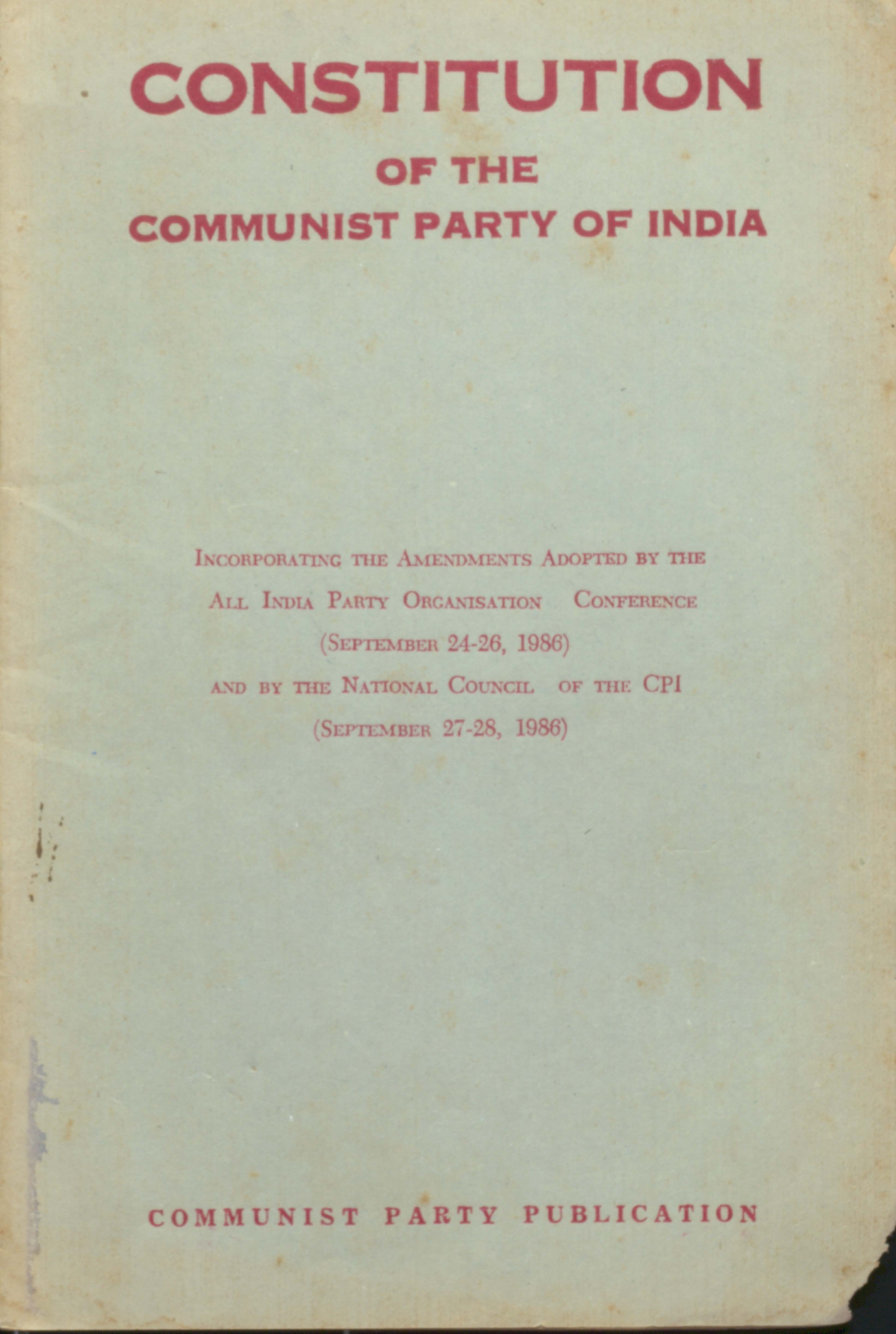 Constitution Of The Communist Party Of India