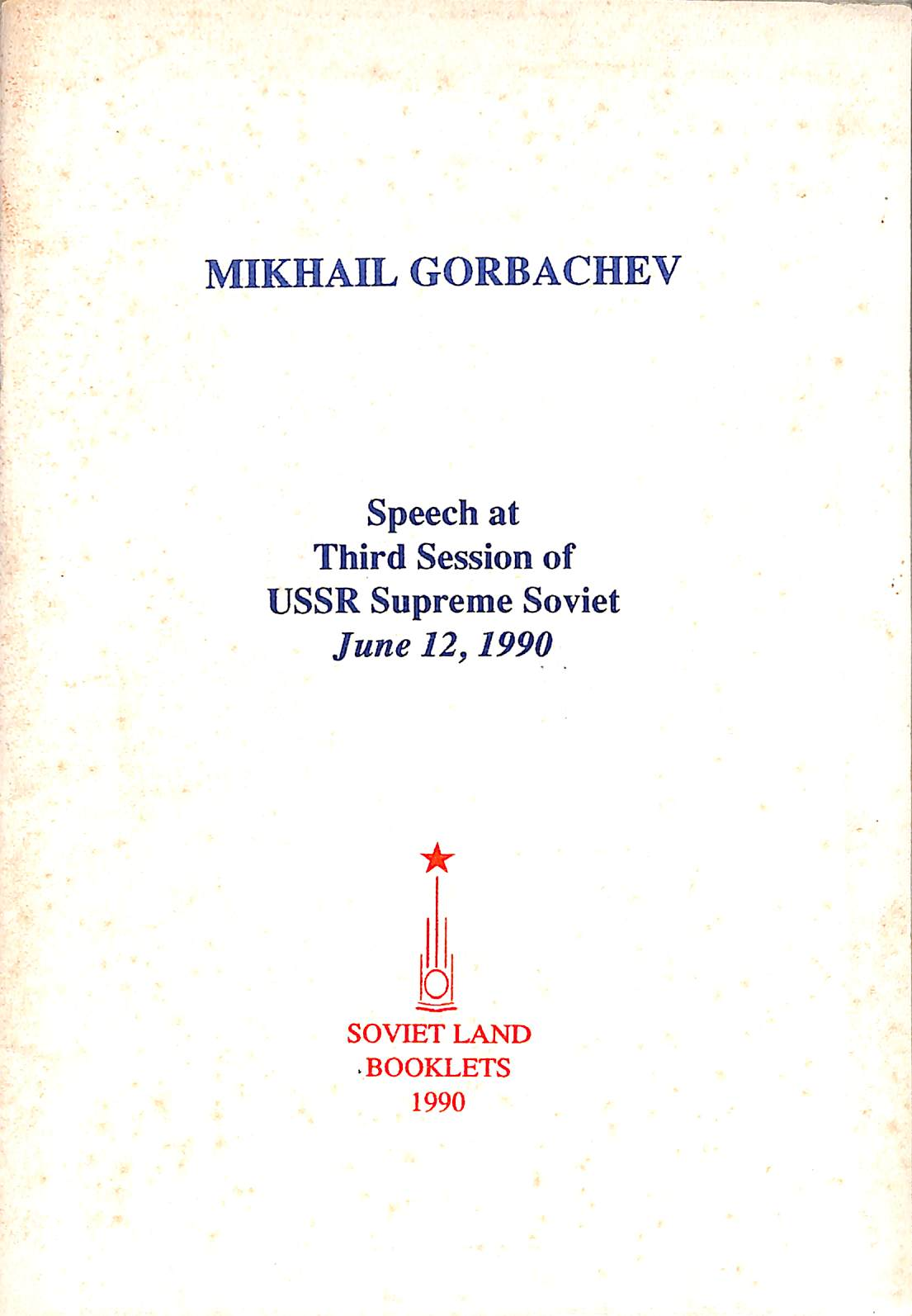 Speech At 3rd Session of USSR Supreme Soviet